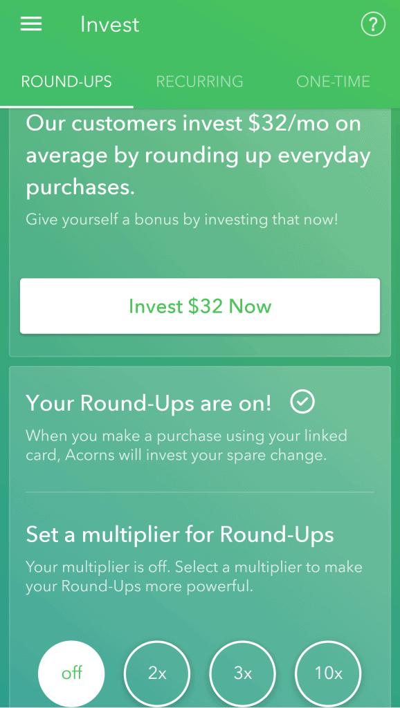 Acorns roundups screen