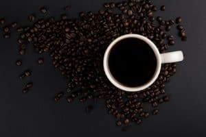 black coffee from fresh coffee beans