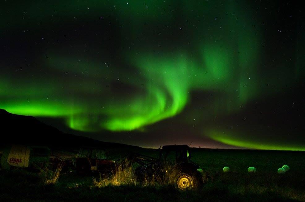 northern lights at an Icelandic farm