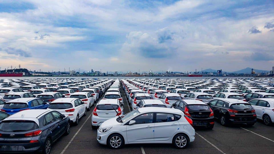 Sea of cars at a car factory