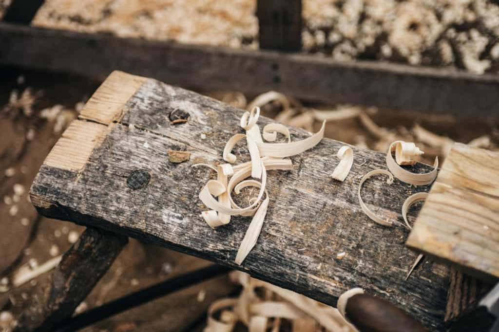wood shavings in a workshop