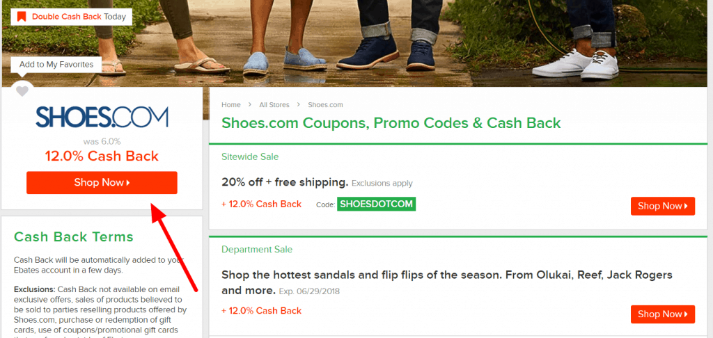 Shoes.com Ebates page with portal and coupon offers