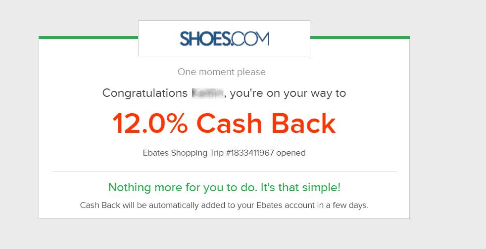 12% cash back Shoes.com offer