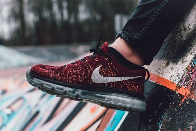 Close up of a red Nike shoe