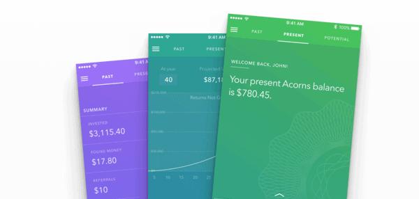 Acorns app screens
