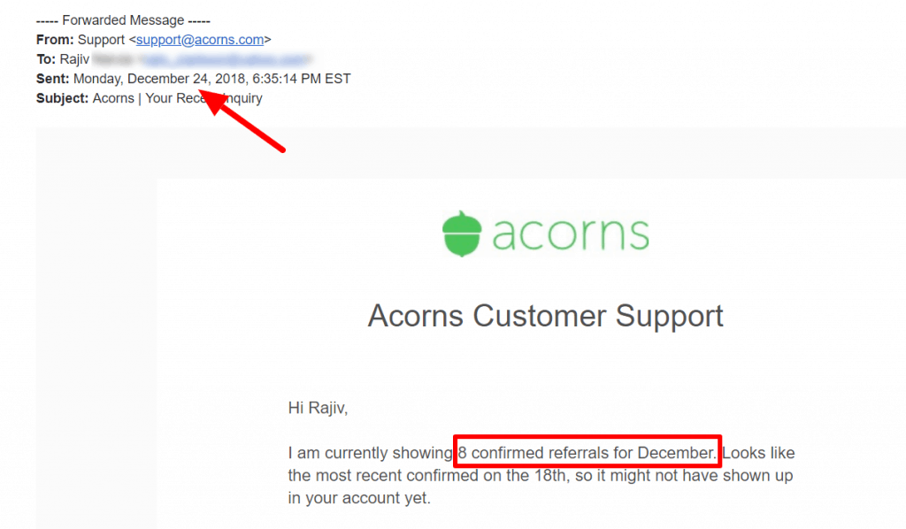 Acorns showing 8 referrals