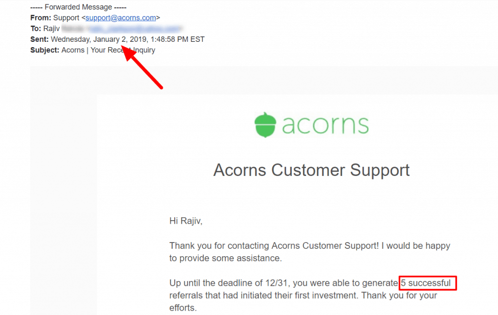 Acorns 5 referrals