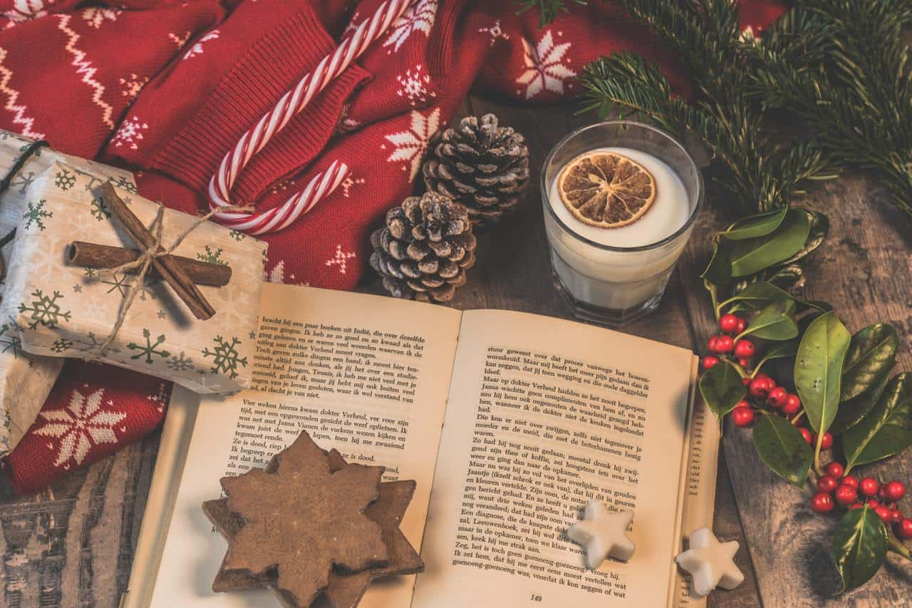 open book with Christmas decorations