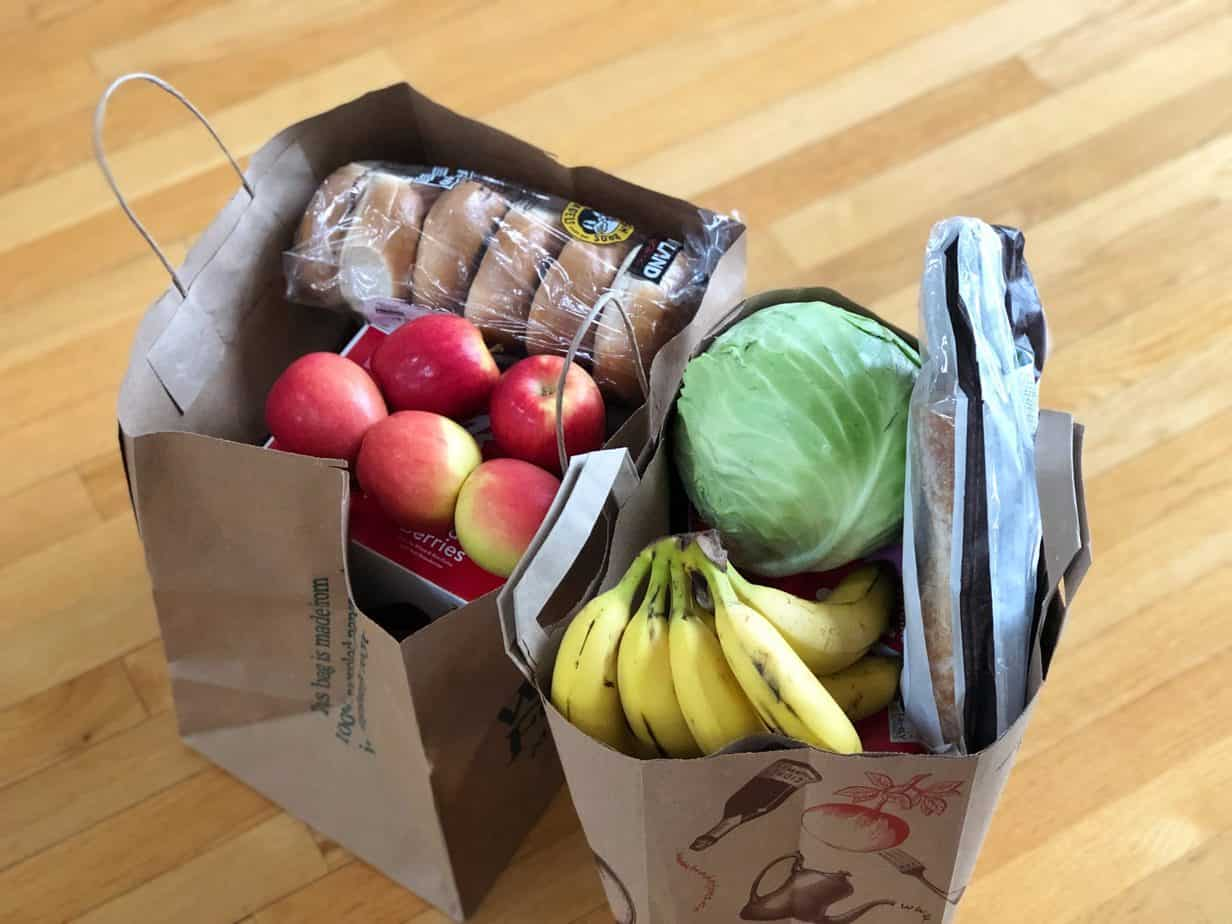 Grocery bag with groceries